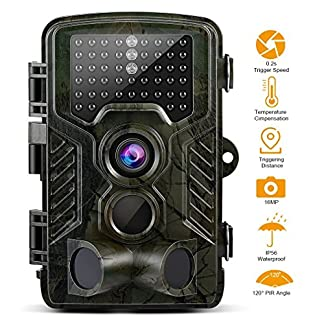 GreensKon Wildlife Camera, Trial Camera 16MP 1080P HD 2.4inch LCD Screen IP56 Waterproof 120° Wide Infrared 20M/65FT Night Vision Hunting Camera Security Camera