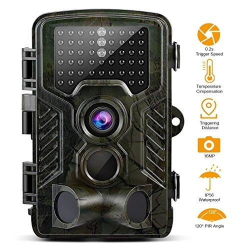 GreensKon Wildkamera 16MP, 1080P, HD, 6,1cm LCD Bildschirm, IP56,wasserdicht, 120Grad Winkel, Infrarot bis zu 20m, Nachtsicht, Jagdkamera, Sicherheitskamera 30 Pack Aa-batterien