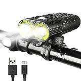 INTEY Luz LED para Bici Luces de Bicicleta Recargable con USB Bicicleta faro 1600 Lúmenes IPX6 ImpermeablL