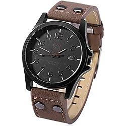 Leopard Shop Unisex Quartz Watch Leather Band Calendar Coffee