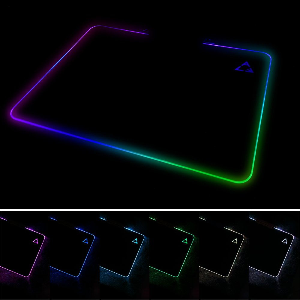 LED Light Hard Gaming Mouse Pad USB Wired RGB Colorful Computer Mac Notebook Mice Mat - Black