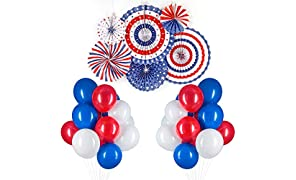 PuTwo Red Blue and White Balloons 66 pcs 12 inch Red Balloons White Balloons Royal Blue Balloons for Captain America, Spider Man, USA Party, the Avenger Party including Paper Pom Poms