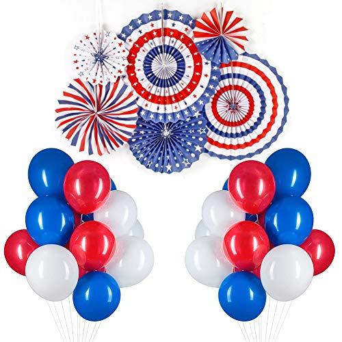 PuTwo Rot Weiß Blaue Luftballons 66 Stück 12