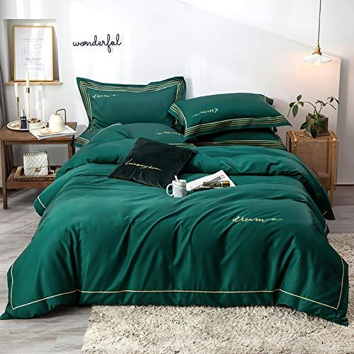 yaonuli Einfache Baumwolle gestickte Langstapel-Baumwolle vierteilige Baumwolle Rhythmus 2,0 m Bettfalte: 220 * 240 cm Bettlaken 245 * 270 cm Kissenbezug 48 * 74 cm * 2
