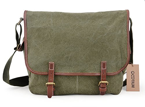 Gootium Vintage Military Leinwand Herren Schultertasche/Messenger Bag, 39cm, Armee (Armee Outfit Mens)