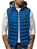 OZONEE Herren Weste Kapuze Modern Täglichen Zip Steppweste Vest Ärmellos Jacke Sportswear Übergangs 777/417KA BLAU L