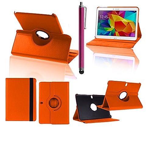 VCOMP® Etui Coque Housse avec support Et Rotation 360° en cuir PU pour Samsung Galaxy Tab Pro 10.1 SM-T520/ Tab Pro 10.1 LTE 4G SM-T525 + stylet - ORANGE