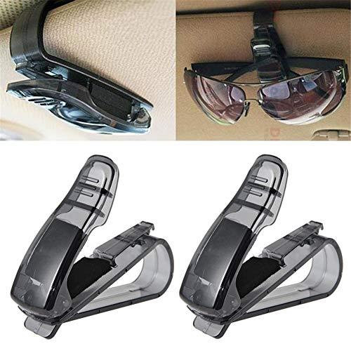 ZOOENIE 2 Pack KFZ Auto Brillenhalter Sonnenbrillenhalterung für LKW Sonnenblende Brillenablage Halter Clip, Universal Sonnenbrille Halter, Brillenfach, Karteneinschub