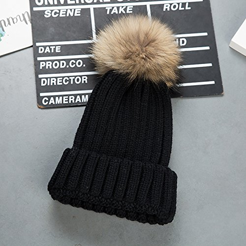 Cappello invernale donna beanie cappelli di lana con pon pon berretti da pingenaneer (nero)