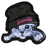 2 chat chaton bonnet ecusson patche insigne 8,5x8,5cm thermocollant brodé sequin