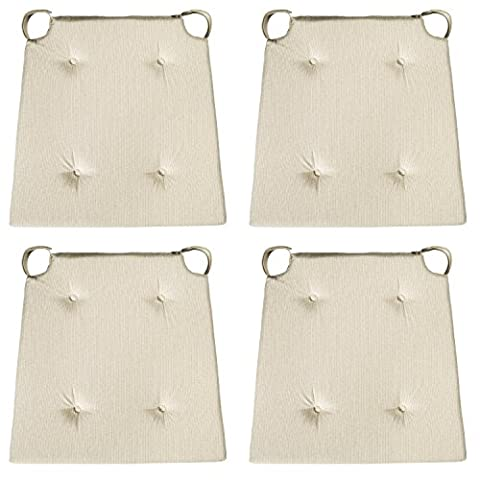 sleepling 190192 Basic 10 bequemes Stuhlkissen / Sitzkissen für Indoor und Outdoor 4er Set beige