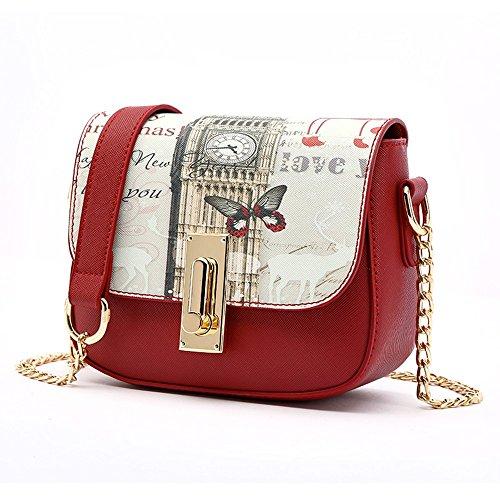 Sacchetto di estate coreano, zaino obliquo della spalla delle signore, mini borse di modo selvaggio, pacchetto della catena ( Colore : Nero ) Vino rosso