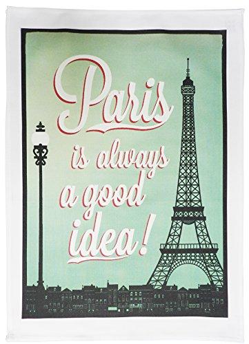 Paris, always a good idea - Vintage Style Large Cotton Tea Towel by Half a Donkey Vintage Tea Towel