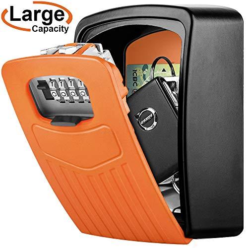 Schlüsseltresor Wandmontage BTNEEU Schlüssel Safe Groß für Schlüssel, Schlüsselsafe Aussen mit 4-stelligem Zahlencode, Gross Schlüsselbox für Draußen, Innen, Auto, Zuhause, Garage (orange)