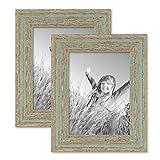 Photolini 2er Set Vintage Bilderrahmen 15x20 cm Grau-Grün Shabby-Chic Massivholz mit Glasscheibe und Zubehör/Fotorahmen/Nostalgierahmen