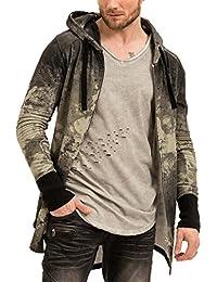 trueprodigy Casual Homme veste sweat motif imprimé, vetements swag marque a capuche (manche longue & slim fit classic), pull sweat zippe mode fashion Couleur: kaki 2573113-0629