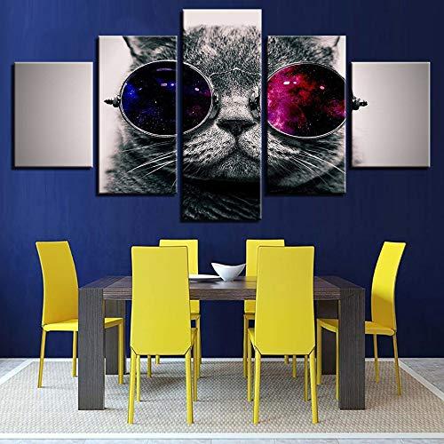 alicefen Wandkunst HD Drucke Bild Rahmen 5 Stücke Schöne Tier Katze Mit Sonnenbrille Leinwand Gemälde Moderne Wohnkultur Tier Poster-No Frame