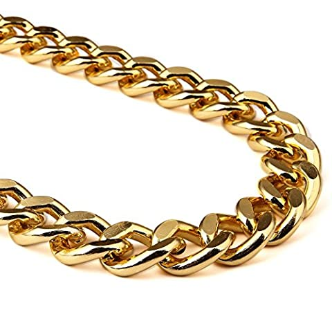 MACYS Mens Big Size Gold Finish Thick Hip Hop Kette & Armband Miami Cuban Halskette