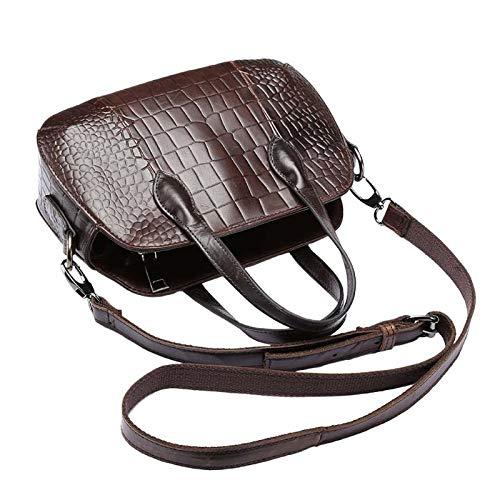 GDSZN Damen Handtaschen Echtes Leder Umhängetasche Mode Taschen Handtaschen Damen Taschen DesignerDunkelbraun -