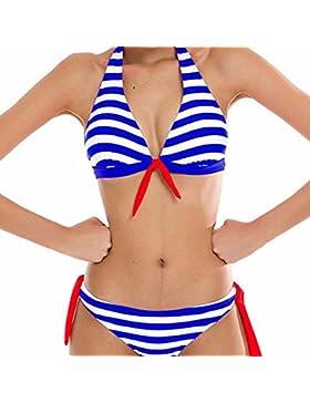 Traje De Baño Bikini-Mujer Push-up Acolchado Bra Bikini Verano Trajes de baño Rayas Tops y Braguitas