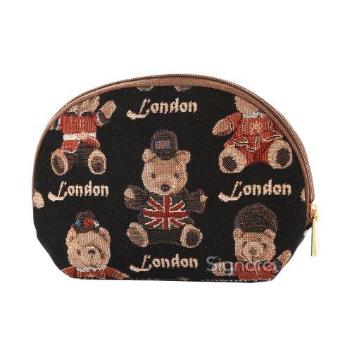 Estuche de maquillaje de moda Signare para mujer en tela de tapiz varios diseños (Londres oso)