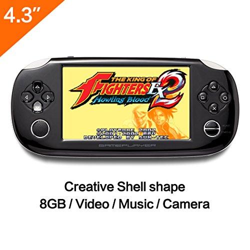 8GB Handspiel -Konsole 4.3 Zoll Mp4 Player Videospielkonsole Built Hunderte von Spielen unterstützen GBA / GBC / GB / SFC / FC / SEGA / SMC Spiele und Ebook Kamera-Aufnahme (schwarz) (Spiel Konsole Mp3-player)