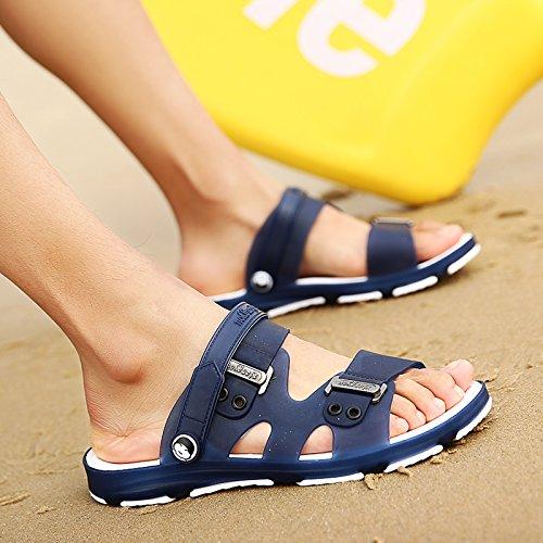 fankou Summer sandals men's sandals cleat men's outdoor plastic wear cool summer bath slippers beach shoes, dark blue and white 40