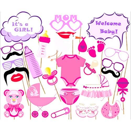hjfgy Classic 27 Accesorios para Cabina de Fotos para Baby Shower, Color Rosa, para niña, recién Nacido, decoración de Fiesta en Estilo Fino
