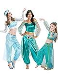 Nihiug Aladdin Lampe Cos Halloween Erwachsene Cosplay Kostüm Kinder Masquerade Jasmin Prinzessin Laufsteg Kleidung Kürbis Retro Bühnenkostüm,ChildrenSection-S