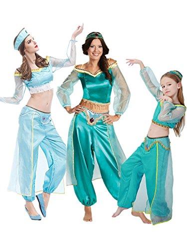 nihiug Aladdin Lampe Cos Halloween Erwachsene Cosplay Kostüm Kinder Masquerade Jasmin Prinzessin Laufsteg Kleidung Kürbis Retro ()