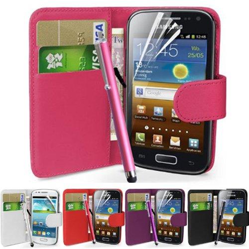 fi9 - Cover in similpelle per telefoni Samsung con protezione per schermo e stilo, - rosa, Galaxy Ace GT-S5830 S5830i S5839i