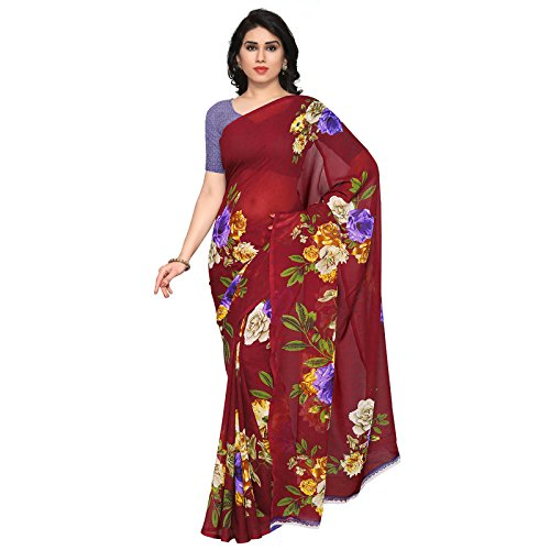 Anand Sarees Faux Georgette Maroon & Multi Colored Printed Saree With Blouse Piece (1052_3)  available at amazon for Rs.249