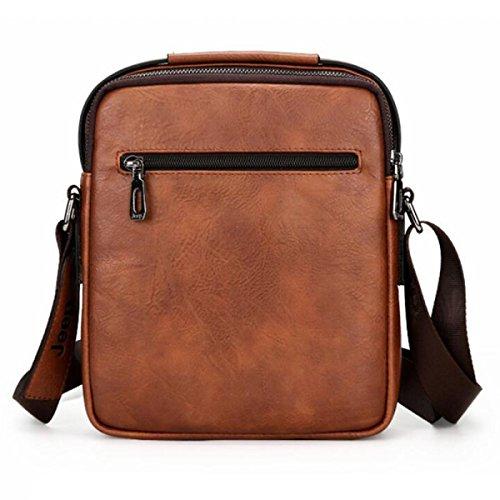 BUKUANG Grande Capacità Borse Uomo Diagonale Degli Uomini Business Semplice E Pratico,Brown Orange