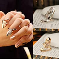 HuntGold 2X Personality Dragonfly Flower Shiny Rhinestone Finger Tip Nail Ring(gold,silver)