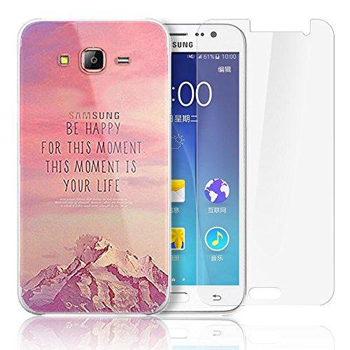Samsung Galaxy J500 Cover,Samsung Galaxy J5(2015) Custodia , Paesaggio Scenario Ultra Sottile PC Opaco trasparente Back Protettiva Case + 1x Protezione Dello Schermo Screen Protector - Mountain 02 model 8