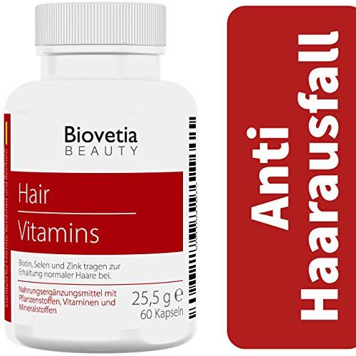 Biovetia Anti Haarausfall Kapseln, gegen Haarausfall bei Frauen und Männer schnell stoppen + Haarwachstum beschleunigen, 60 Kapseln (Shampoo Für Biotin Die Haare)