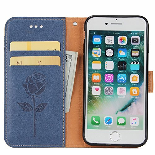 JIALUN-Telefon Fall Mit Kartenschlitz, Lanyard und magnetische Wölbung Druck Nette flache Telefon Shell für IPhone 7 ( Color : Black ) Blue