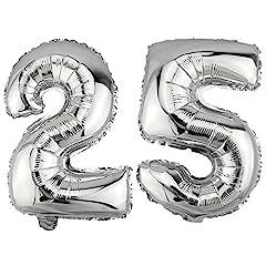 Idea Regalo - DekoRex Palloncino stagnola nomero 25 Argento 40cm per l'aria Compleanno Decorazione