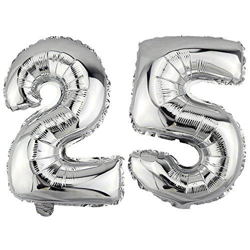 (DekoRex® 25 als Folienballon Luftballon Zahlenballon Jahrestag Geburtstag in Silber 40cm hoch)