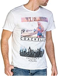 Deeluxe 74 - Tee-shirt homme blanc imprimé coachella