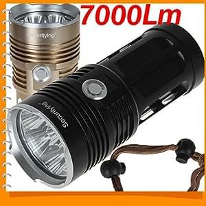 Lot! SecurityIng 7000Lm 7 x CREE XML T6 LED Lampe torche étanche IPX - 6 x 18650 Lampe torche à LED en aluminium Prestige émettant Couleur :  Blanc
