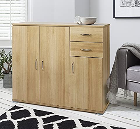 Laura James Sideboard – Home Office Cupboard Cabinet Unit Chest – with 2 drawers and shelf shelves