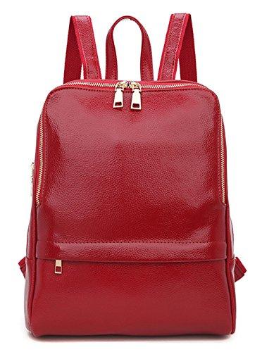 Greeniris Damen echtes Leder Rucksack Damen Mode Schulranzen für Damen/Mädchen Rot -
