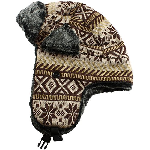 Brown Snowflake Trapper Hat Fur Lined Russian Cossack Ski Hat Winter