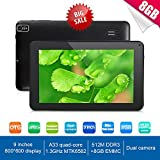 Grandorient Newest 9 Inch Ultra Slim Design Android 4.4 Tablet PC - Quad Core 8GB Storage - Complete with Touch Screen, WIFI, Dual Camera, Bluetooth, Highly Recommend (black)
