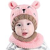 Fami Bébé Toddler Knitted Enfants Lovely Soft Hat + Écharpe Deux pièces Set (Rose)