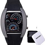 Unisex Sport Uhr Geschwindigkeitsmesser Art LED Digital Kalender Armbanduhr Kühle Uhr Einzigartige Uhr Art und Weiseuhr (black)
