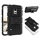 ECENCE Handyhülle Schutzhülle Outdoor Case Cover + Panzerfolie kompatibel für Samsung Galaxy S5 i9600 S5 Neo S5 Plus Handytasche Schwarz 43020204