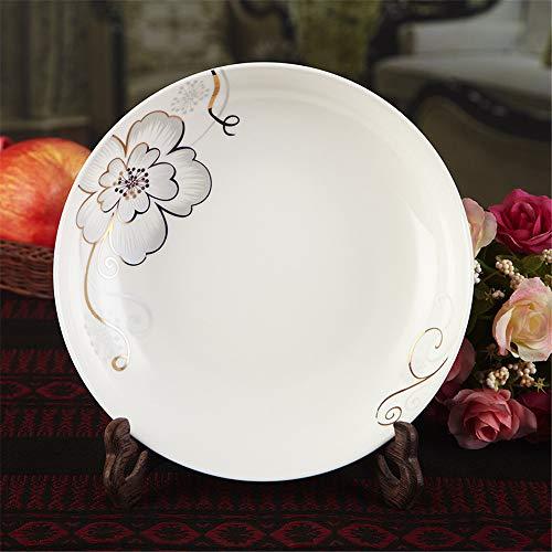 YUWANW Keramikscheibenplatte Keramikschale Platte Obstteller 8 Zoll Wasserhaushaltsgeschirr Hibiscus Scheibe 4 pcs - Teller Hibiscus Pflanzen