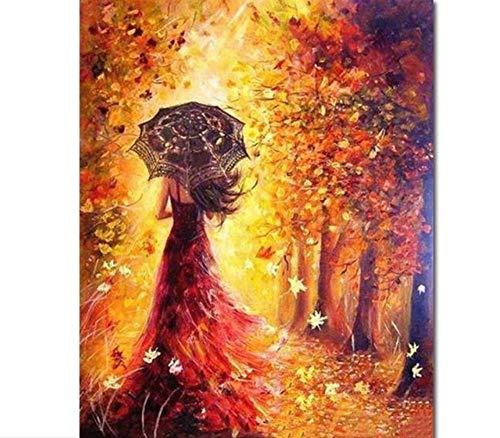WAZHCY Wandkunst Weibliche Zurück Malerei Romanik Erwachsene Malerei DIY Ölgemälde Durch Nummer Kit-Rahmenlose 40X50 cm